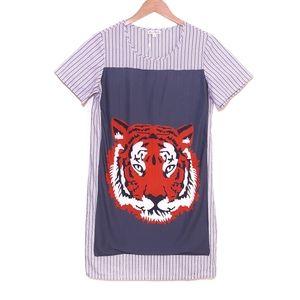 Kling Blue Orange White Stripe Tiger Shift Dress